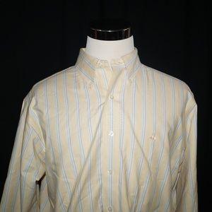 Brooks Brothers 1818 Shirt L Non Iron Striped Logo